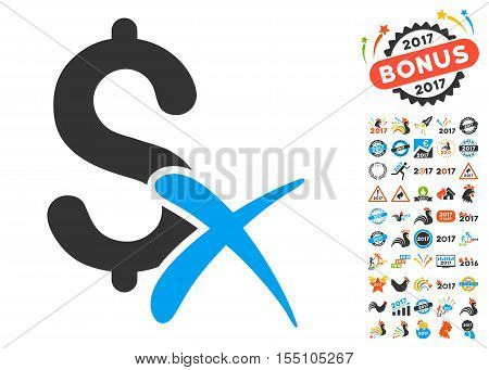 Reject Money icon with bonus 2017 new year clip art. Vector illustration style is flat iconic symbols, modern colors.