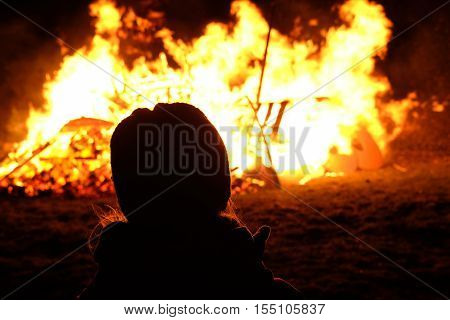 Night Campfire. Guy Fawkes Night (bonfire Night) Is A Celebration In United Kingdom On The 5Th Of No