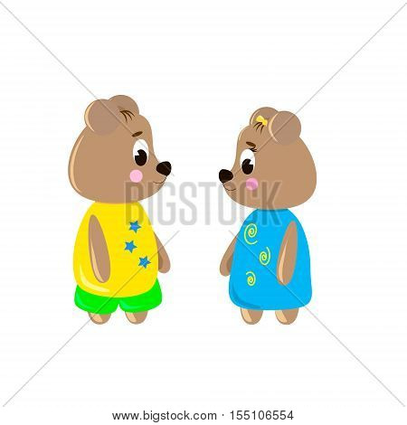 Two cute cartoon Bear on a white background can be used for wallpaper design card invitation.