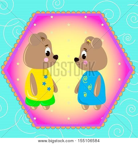 Emblem card with cute cartoon Bears can be used for wallpaper design card invitation.