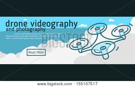 Drone Videography And Photography  Web Banner, Header, Cover.  Flat Vector Graphic.