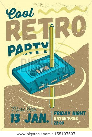 Cool Comic Retro Party Poster Template. Pencil Pass Through The Tape Cassette And Spin Manually For Rewind.  Vector Graphic.