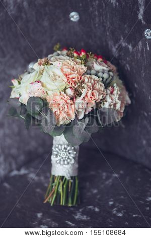 Bridal bouquet. The bride's bouquet. Wedding decoration