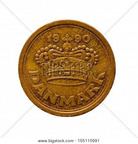 Metal Coin  Twenty-five Era Denmark Isolated On White Background .avers Coin