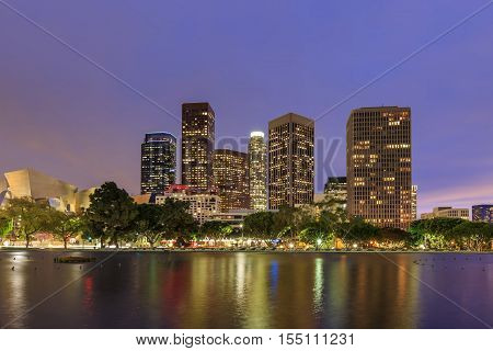 Reflection, Los Angeles Downtown Night Scene