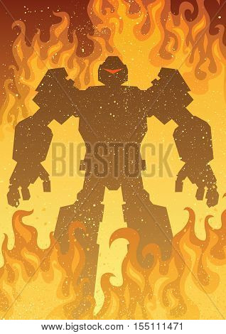 Giant robot in flames with copy space.