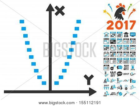 Dotted Parabola Plot icon with bonus 2017 new year graphic icons. Vector illustration style is flat iconic symbols, modern colors.