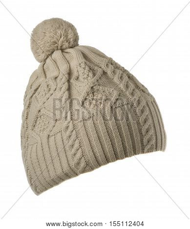 knitted hat isolated on white background .hat with pompon . light grey hat .
