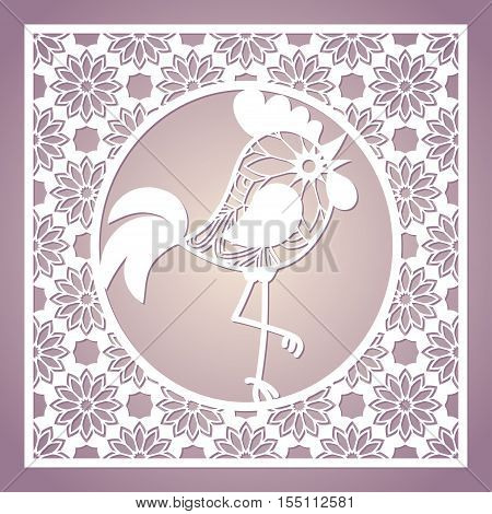 Openwork card with cockerel. New Year greeting card 2017. Laser cutting template for greeting cards envelopes party invitations interior decorative elements.