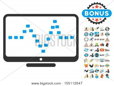 Monitor Dotted Pulse icon with bonus 2017 new year graphic icons. Vector illustration style is flat iconic symbols, modern colors.