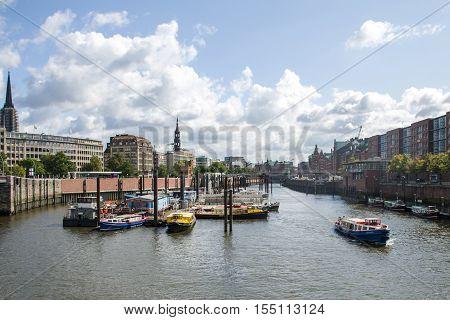 Hamburg City Germany Boats Harbor in front of the city skyline