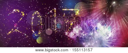 happy new year 2017 greeting card design with stars in different colors and shapes and added stars and lights pattern of bright sparkling colorful fireworks