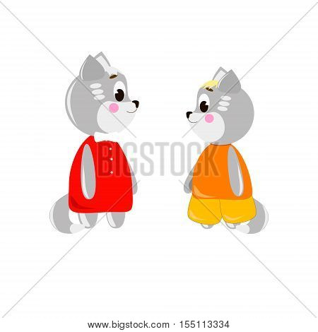 Two cute cartoon Cats on a white background can be used for wallpaper design card invitation.