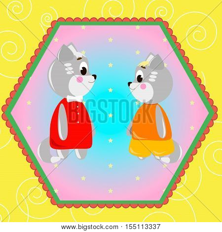 Emblem card with cute cartoon Cats can be used for wallpaper design card invitation.