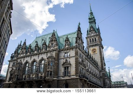 Hamburg City Germany the Town Hall old historic Building 3