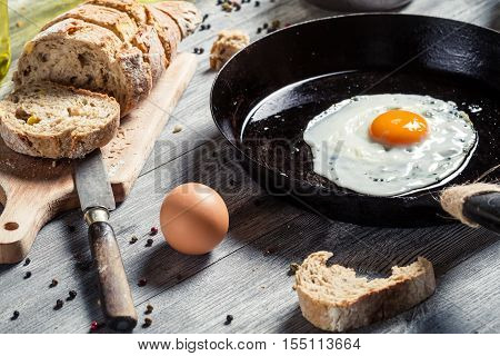 Closeup Of Homemade Bread And Fried Egg