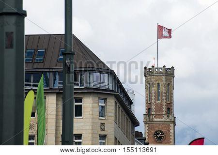 Hamburg City Germany Region Flag on old historic Tower