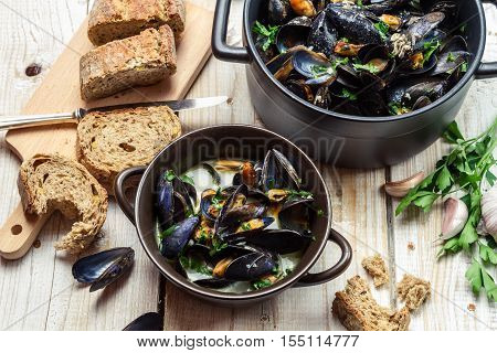 Mussels Served With Homemade Bread By The Sea