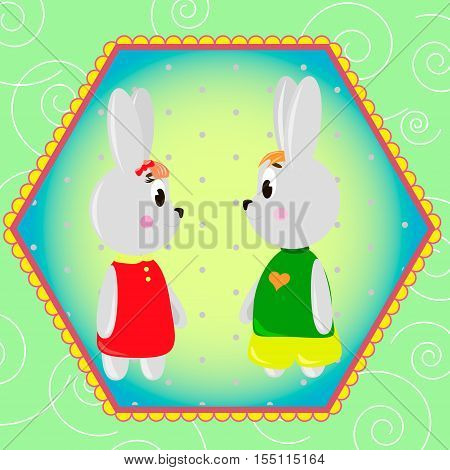 Emblem card with cute cartoon Bunnys can be used for wallpaper design card invitation.
