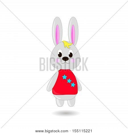 Сute cartoon Rabbit on a white background can be used for wallpaper design card invitation.
