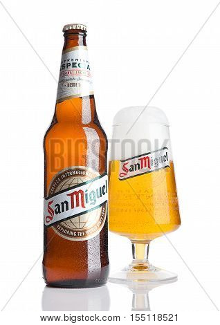 LONDON UK- NOVEMBER 2016: Cold bottle and glass of San Miguel beer. The San Miguel brand of beer is the leading brand of the San Miguel Brewery Inc the largest beer producer in the Philippines.