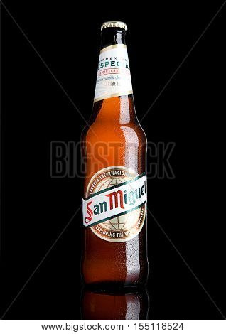 LONDON UK- NOVEMBER 2016: Cold bottle of San Miguel beer. The San Miguel brand of beer is the leading brand of the San Miguel Brewery Inc the largest beer producer in the Philippines.