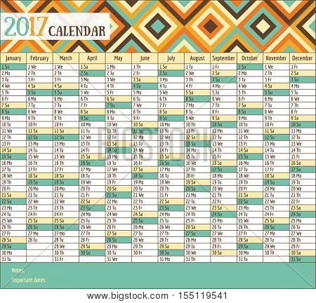 2017 vintage calendar