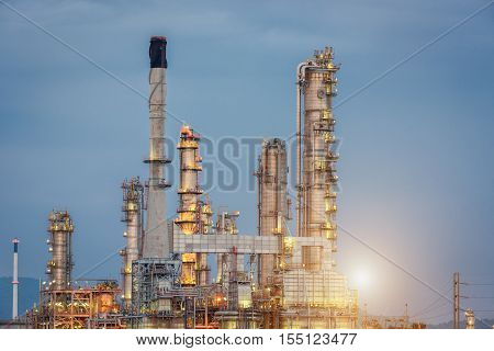 Oil Refinery Factory Petroleum At Twilight Sunset