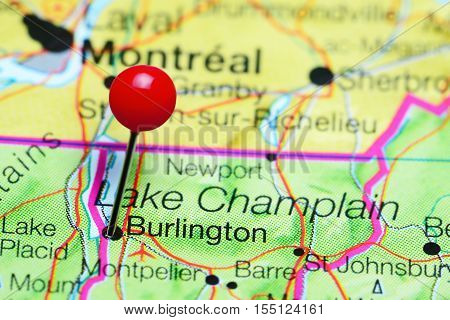 Burlington pinned on a map of Vermont, USA
