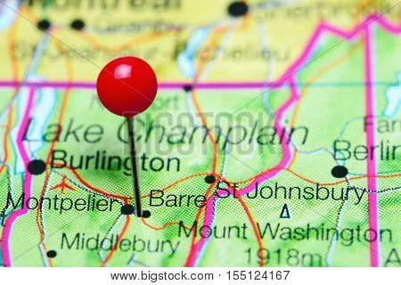 Barre pinned on a map of Vermont, USA