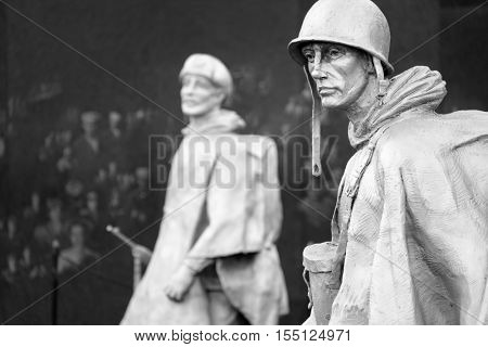 WASHINGTON D.C.,USA - AUGUST 14,2016 : Detail of the Korean War Veterans Memorial in Washington D.C.