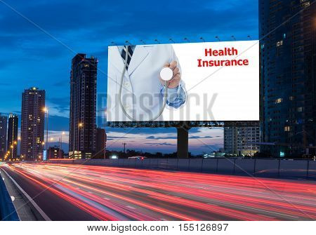 Signs advertising the annual health check on a highway in the city with space for text and logo. Concept of advertising business health and medicine.