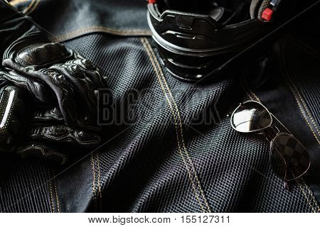Outfit of Biker and accessories Ready to ride