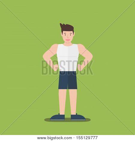 gym fitness muscular cartoon man standing flat design on green background