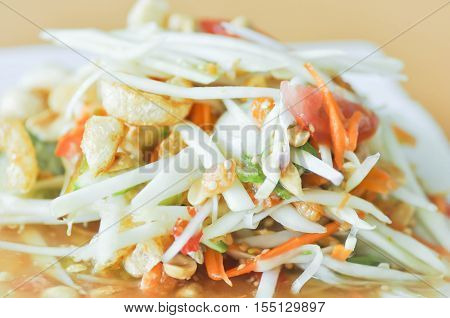 spicy salad. Som Tam or Thai spicy salad dish