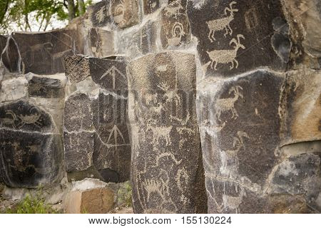 Primitive rock drawings hundreds of years old we call Petroglyphs