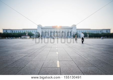 Tiananmen square and tourists, China, East Asia, fuzzy