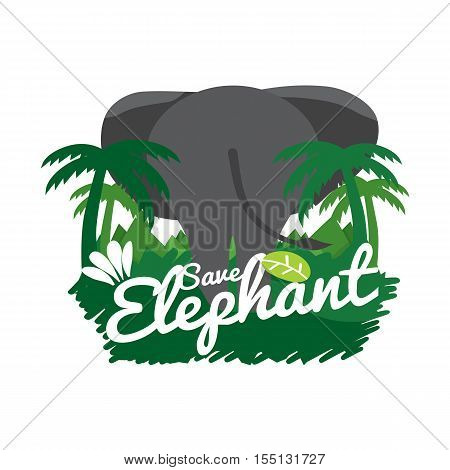 Save Elephant Conservative Concept Vector Illustration. EPS 10