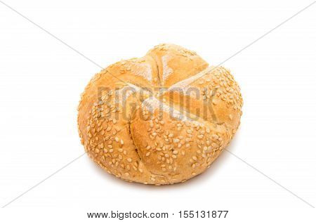 traditional Kaiser bun on a white background