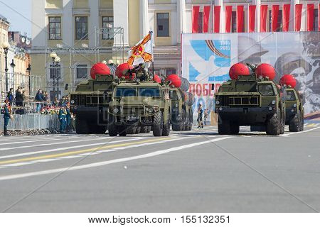 ST. PETERSBURG, RUSSIA - MAY 05, 2015: A column of the ZRS S-300PM rocket launchers on a parade rehearsal in honor of the Victory Day
