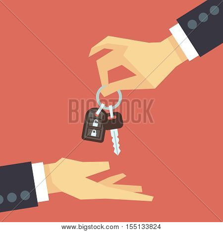 Hand giving car key to other hand. Vector car rent and sale flat concept. Deal with customer, buy new automobile illustration