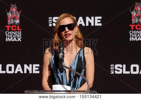 LOS ANGELES - NOV 3:  Jessica Chastain at the Jessica Chastain Hand and Foot Print Ceremony at TCL Chinese Theater IMAX on November 3, 2016 in Los Angeles, CA