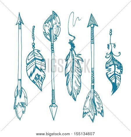American indians feather arrows vector set, old tribal feathers hipster decoration. Hipster vintage element arrow illustration