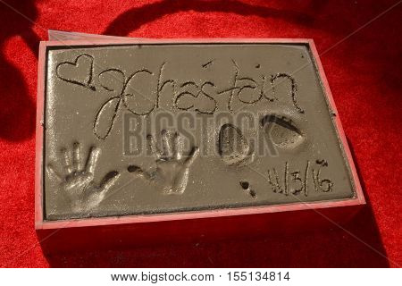 LOS ANGELES - NOV 3:  Jessica Chastain Hand and Foot Prints at the Jessica Chastain Hand and Foot Print Ceremony at TCL Chinese Theater IMAX on November 3, 2016 in Los Angeles, CA