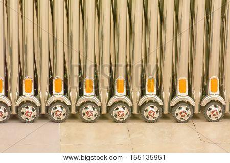 Bulkhead aluminum scroll wheel on a floor.