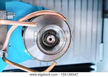 CNC machine tool grinding. The working body of the grinding wheel. poster
