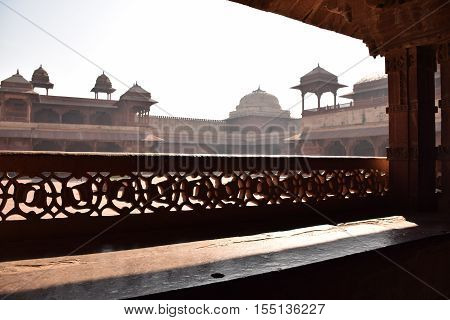Old buildings inside Fatehpur Sikri archaeological site, Uttar Pradesh, India