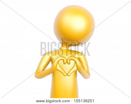 golden guy make heart love symbol with hands isolated on white background 3d illustration