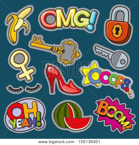 Fashion patch badges 80s-90s girl style vector set. Watermelon and shoes, key and lock illustration