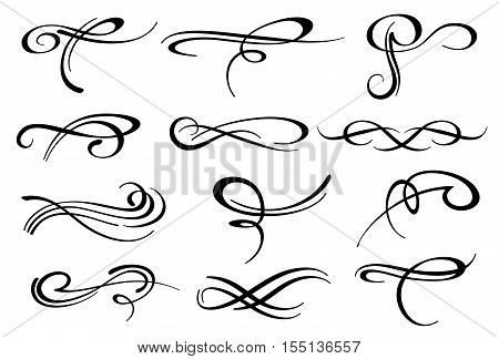 Victorian calligraphic swirl romantic flourish decoration vector set. Ornament filigree element for vignette and wedding decor illustration